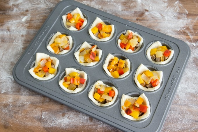 Peppers and onion in puff pastry