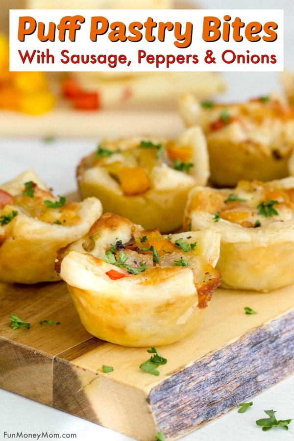 Sausage, Pepper & Onion Puff Pastry Bites Pin 1