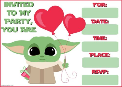 Baby Yoda with balloons