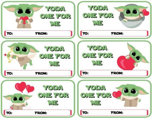 Printable Baby Yoda Valentines - Yoda One For Me