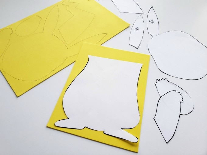 Craft foam pieces for Pikachu valentine box