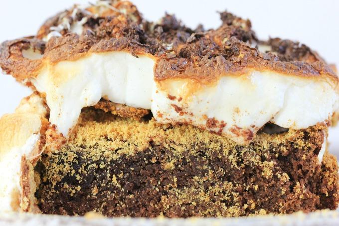 Closeup of smore brownie
