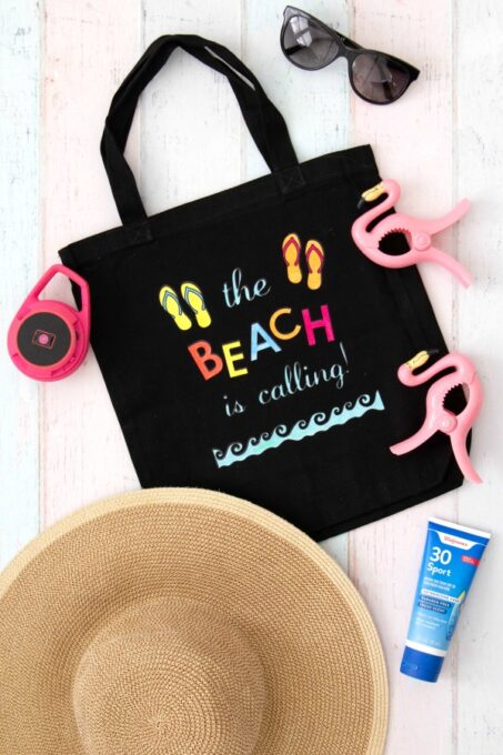 Beach bag from above