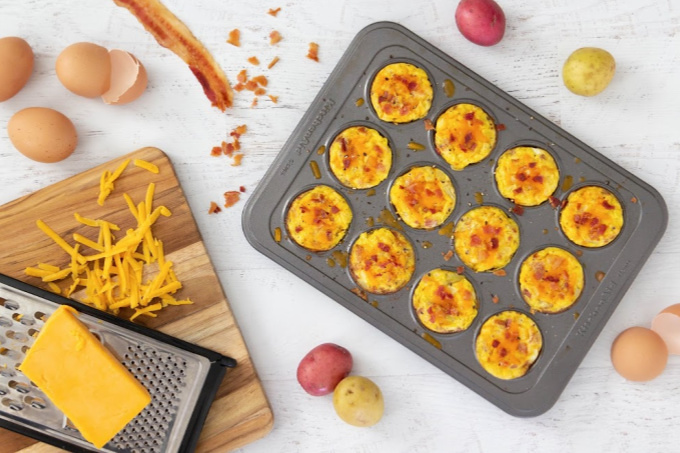 Egg muffins with bacon from above
