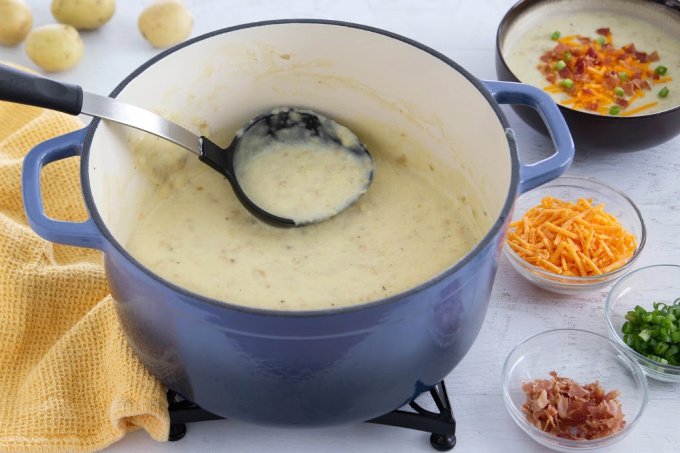 Easy potato soup recipe being served