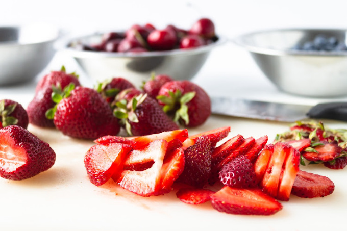Sliced strawberries for berry sangria