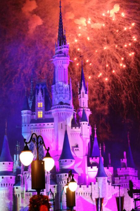Fireworks at Cinderella's Castle in Magic Kingdom