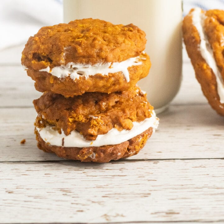 whoopie pies with milk in background