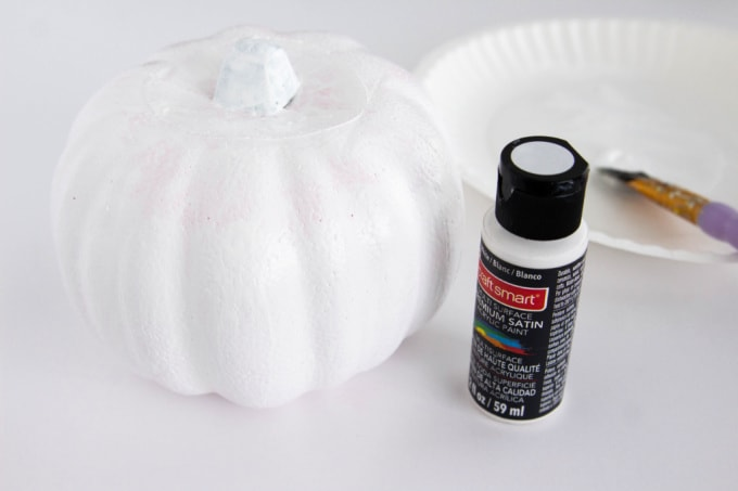 Craft pumpkin painted white