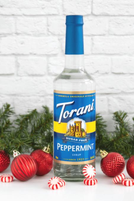 Bottle of Torani Sugar Free Peppermint Syrup