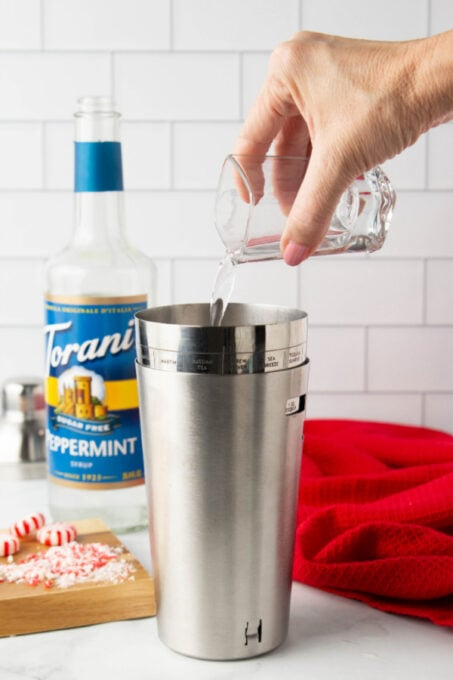 Adding Torani Peppermint Syrup to make a peppermint white chocolate martini
