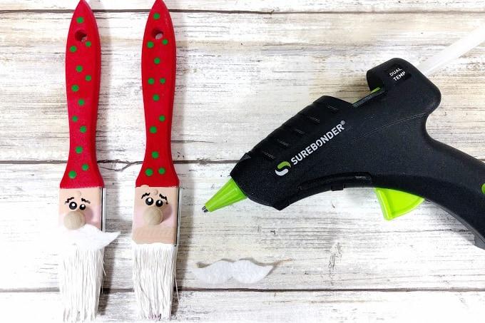 Adding a mustache to paintbrush Santa