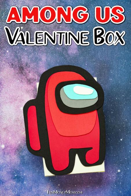 Among Us Valentine Box on space background