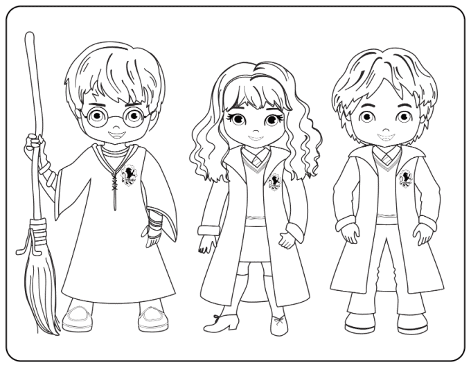Harry, Hermione and Ron coloring page
