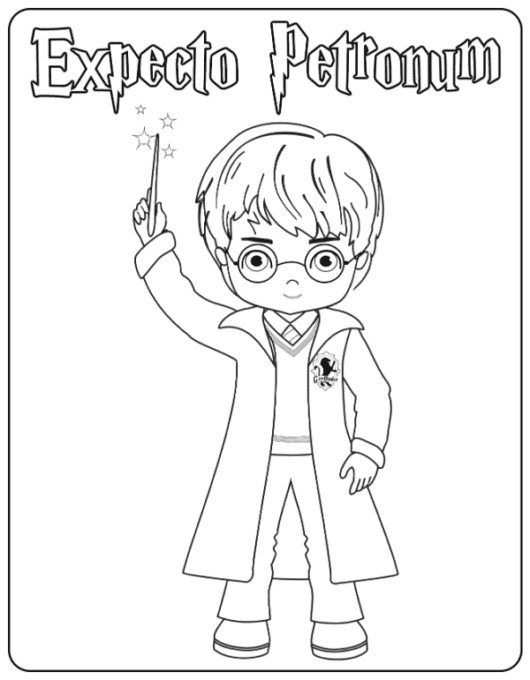 Harry Casting A Spell coloring page