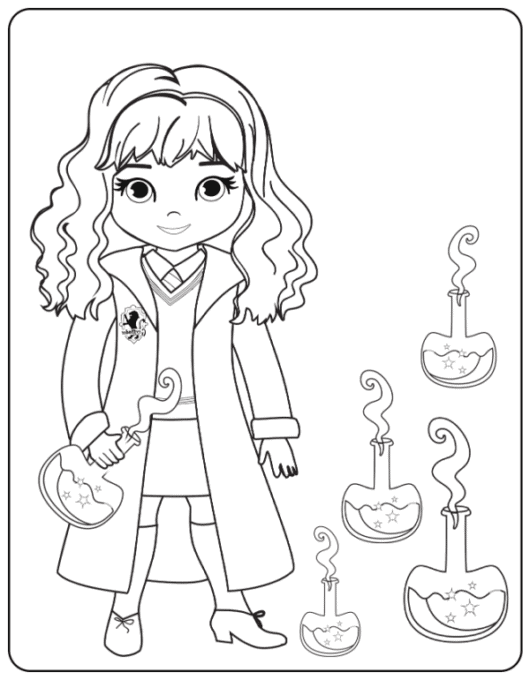 Hermione with potions coloring page