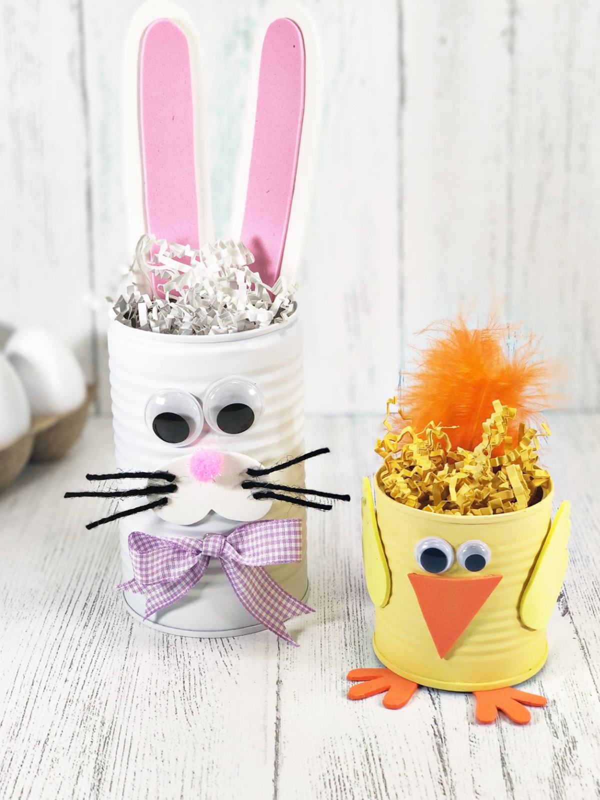 Picture of tin can crafts with Easter bunny and chick