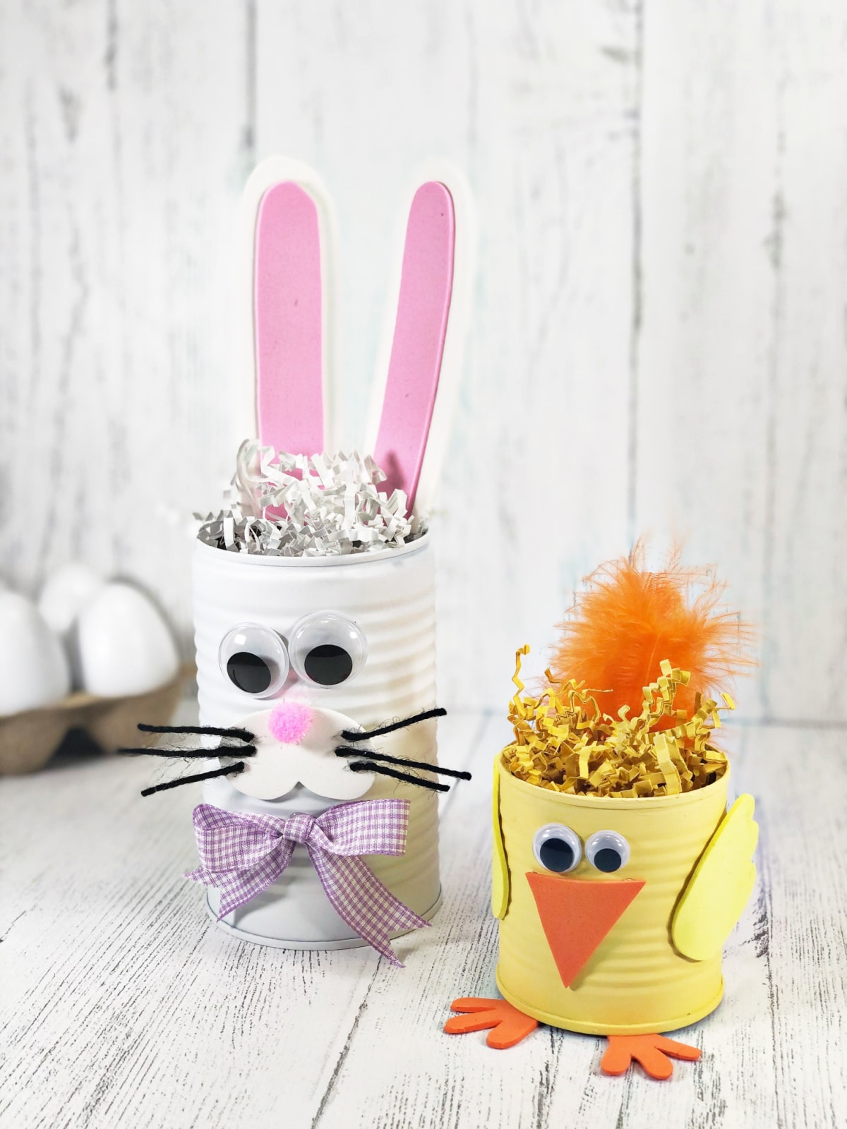 Bunny and chick tin can crafts