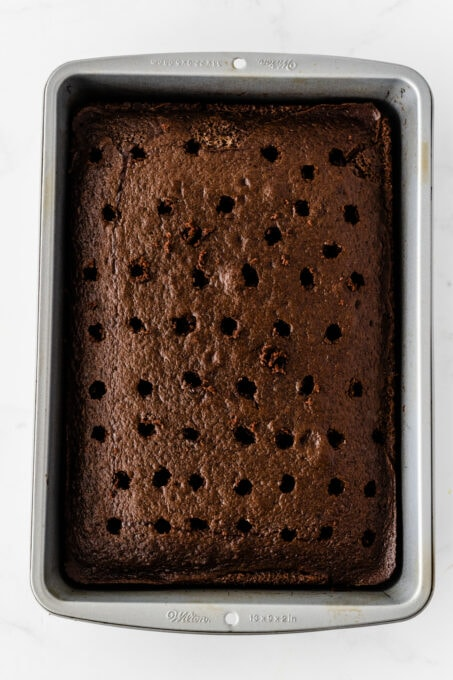 Chocolate cake with holes in it