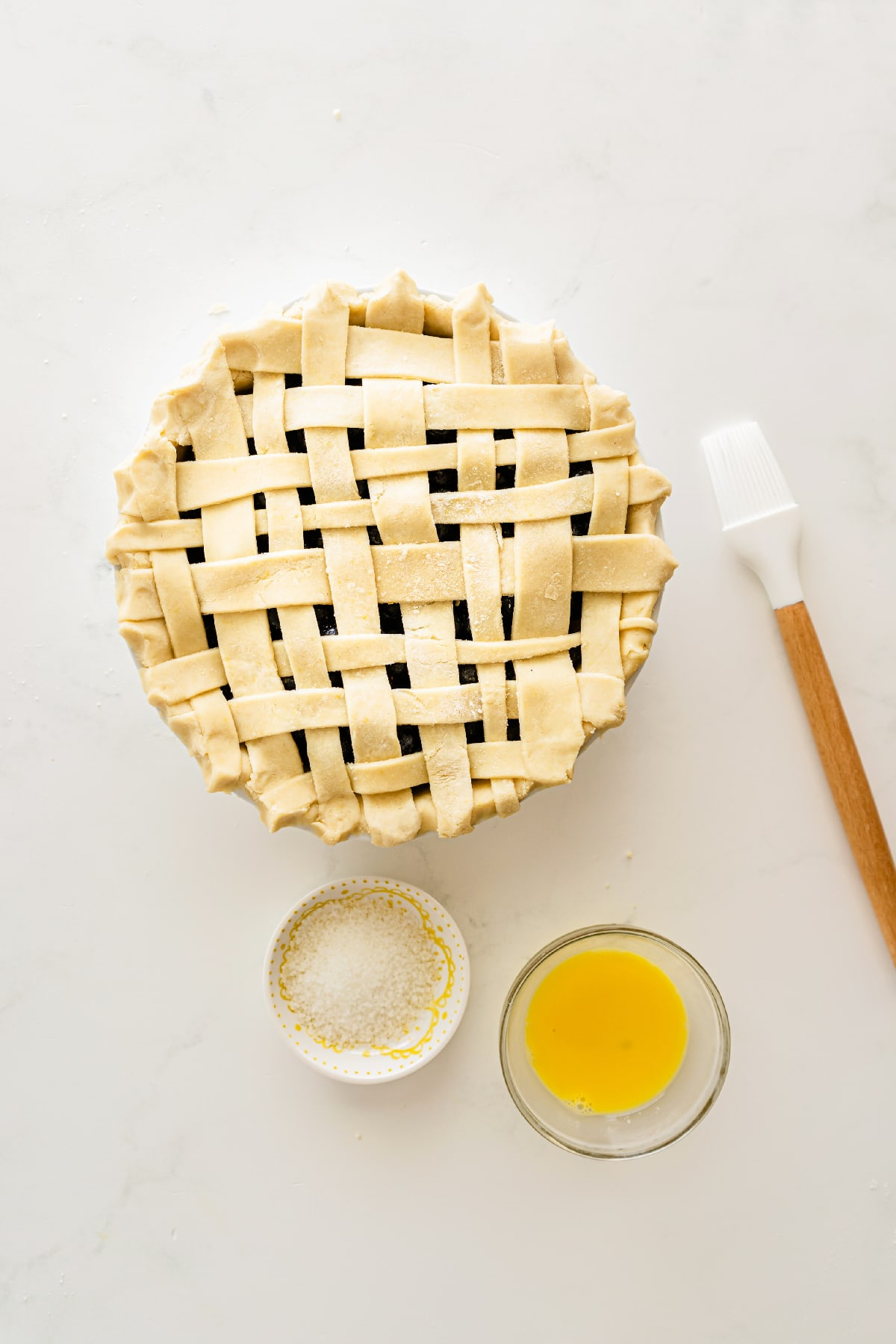Blueberry pie with egg wash and sanding sugar