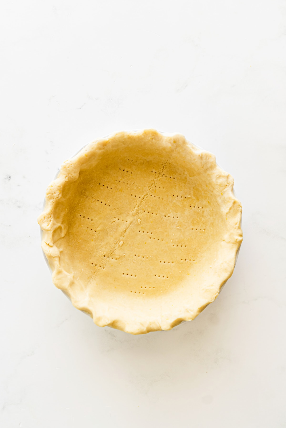 Pie crust vented with a fork