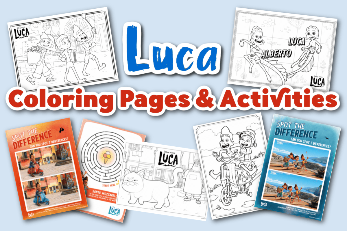 Luca coloring pages and activities