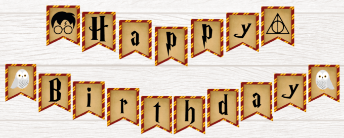 Harry Potter Banner with gold and maroon border