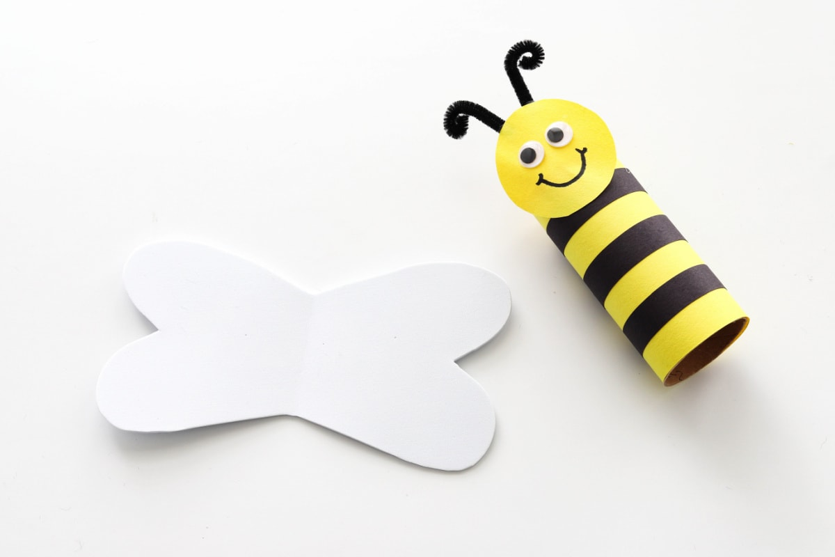 Bumblebee body next to cut out wings