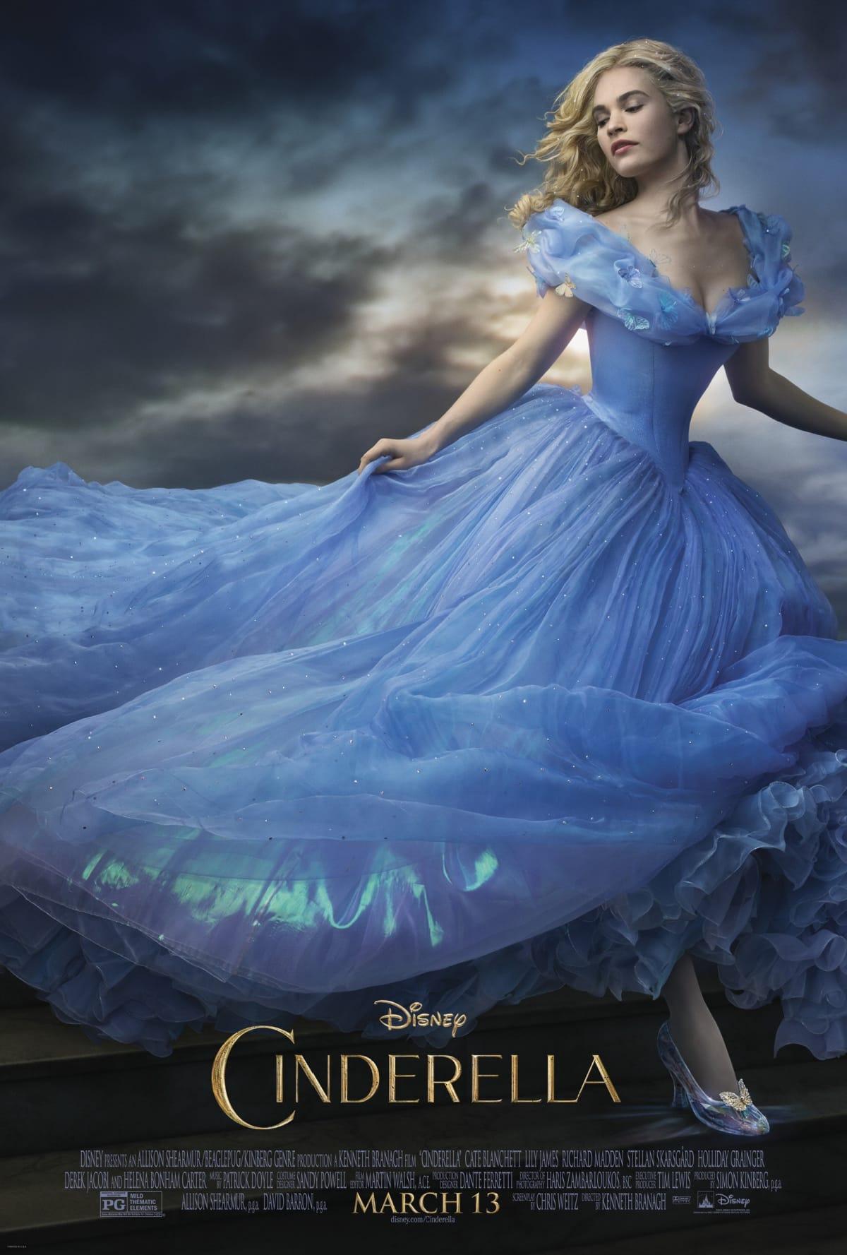 Movie poster for the live action Disney princess movie Cinderella