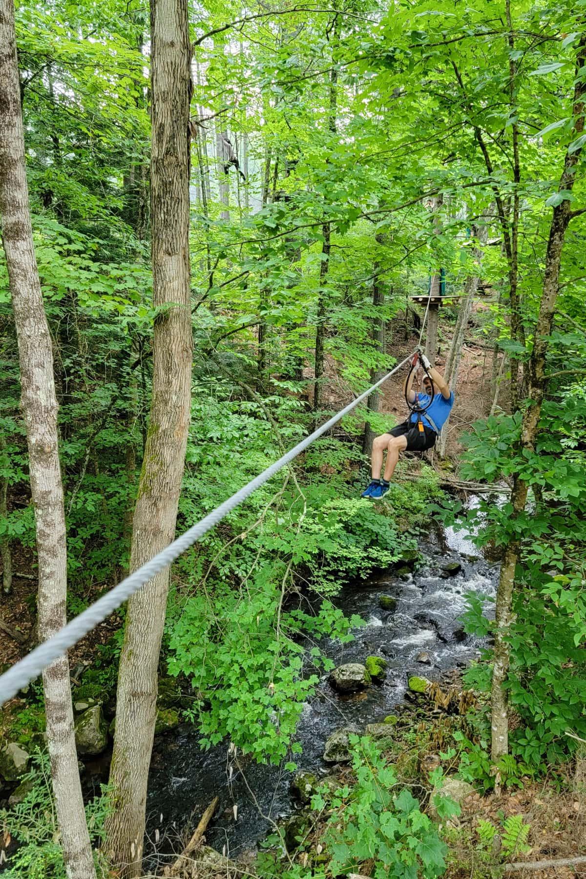 Ziplining at Adirondack Extreme
