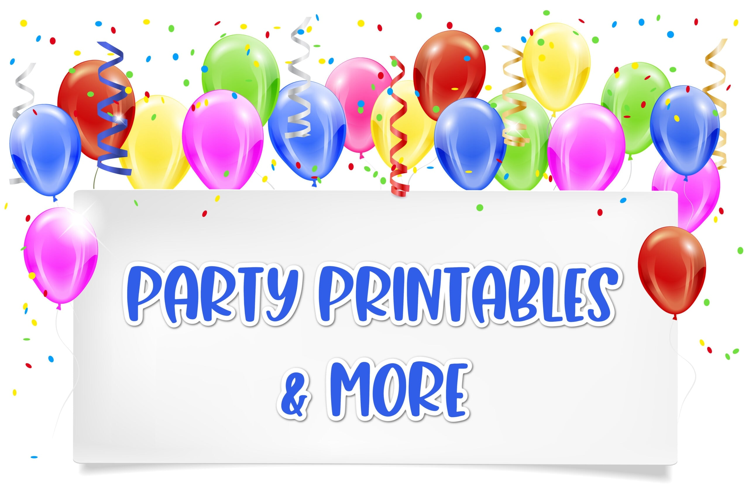 Balloon banner with party printables sign