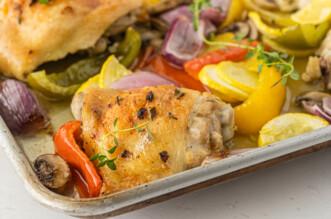 Sheet pan chicken on a plate