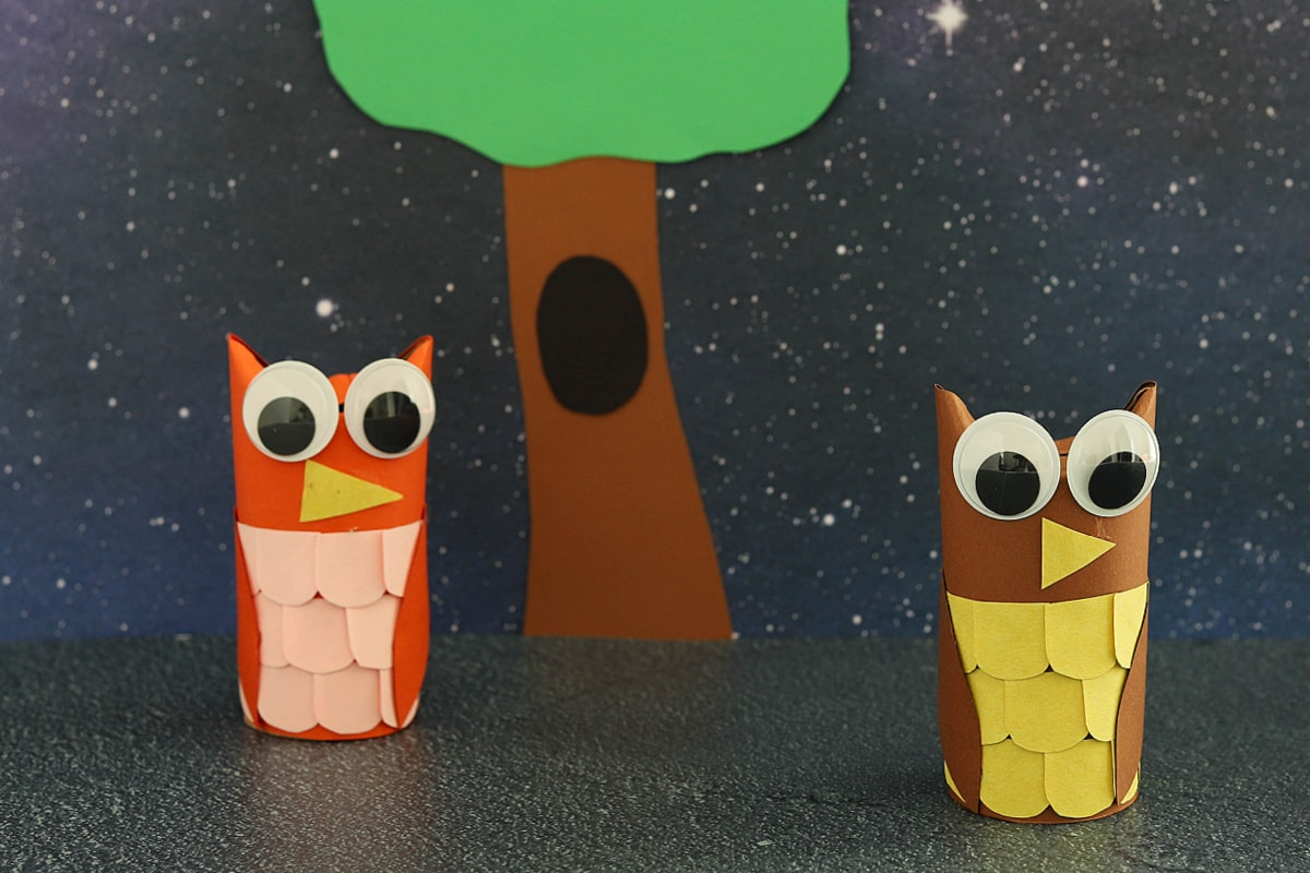 Toilet paper roll owls with dark background