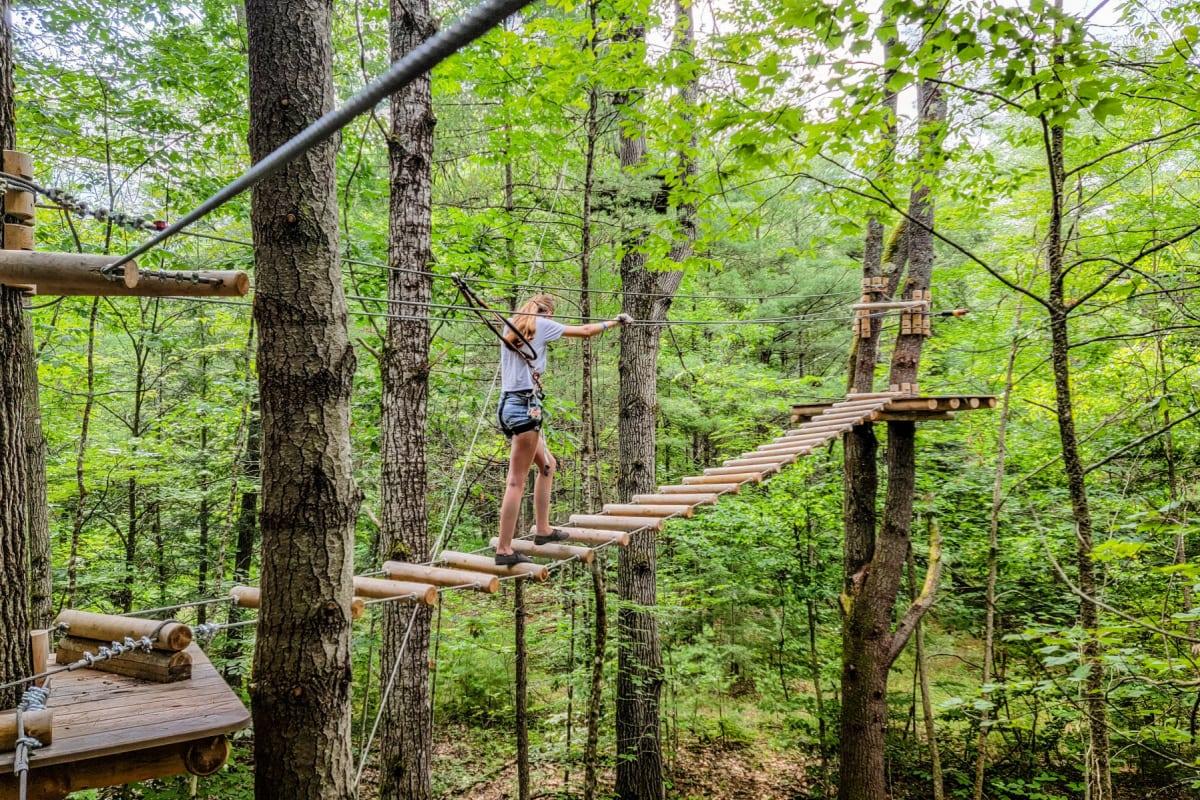 Wooden bridge at Adirondack Extreme