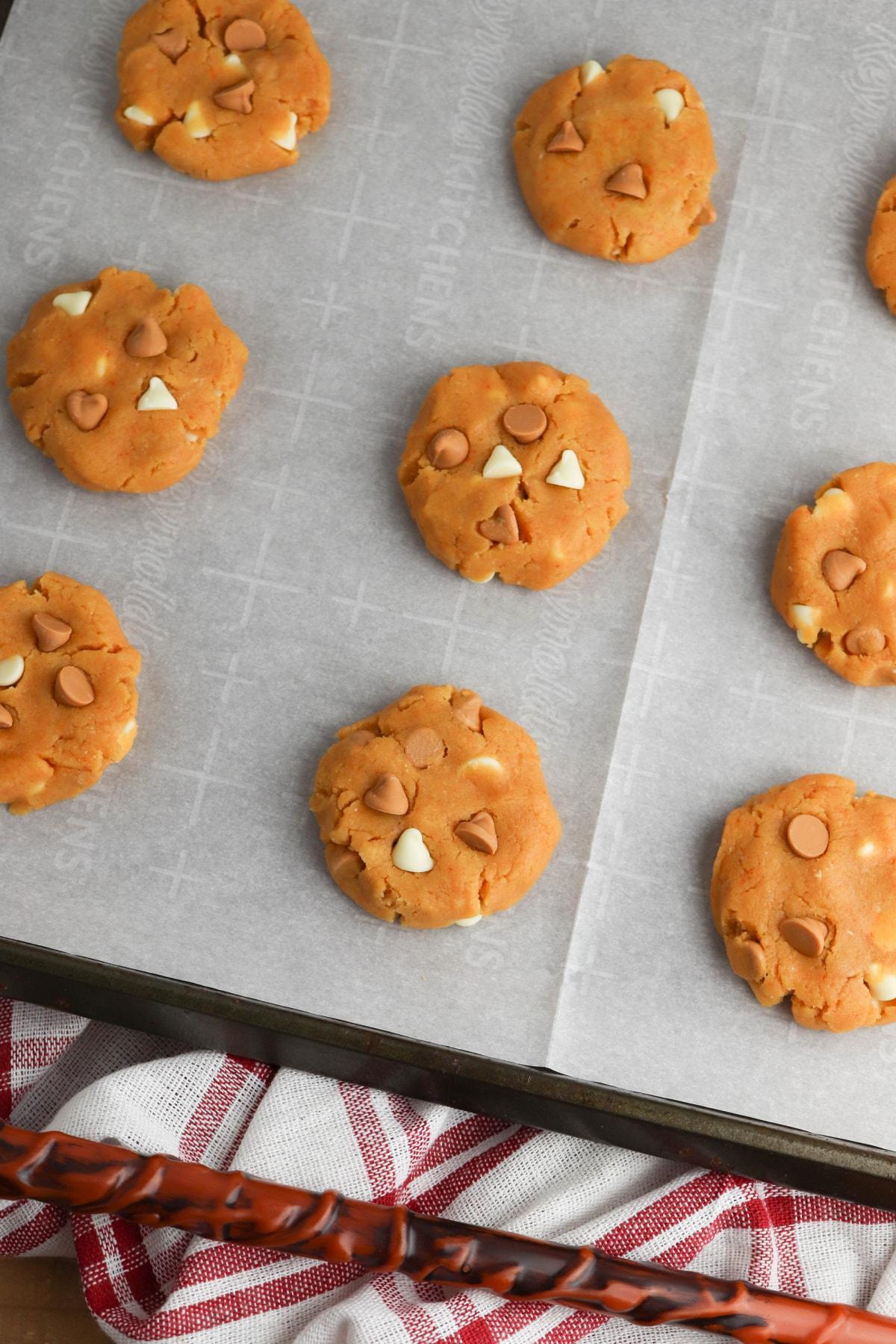 Butterbeer cookie dough on cookie sheet