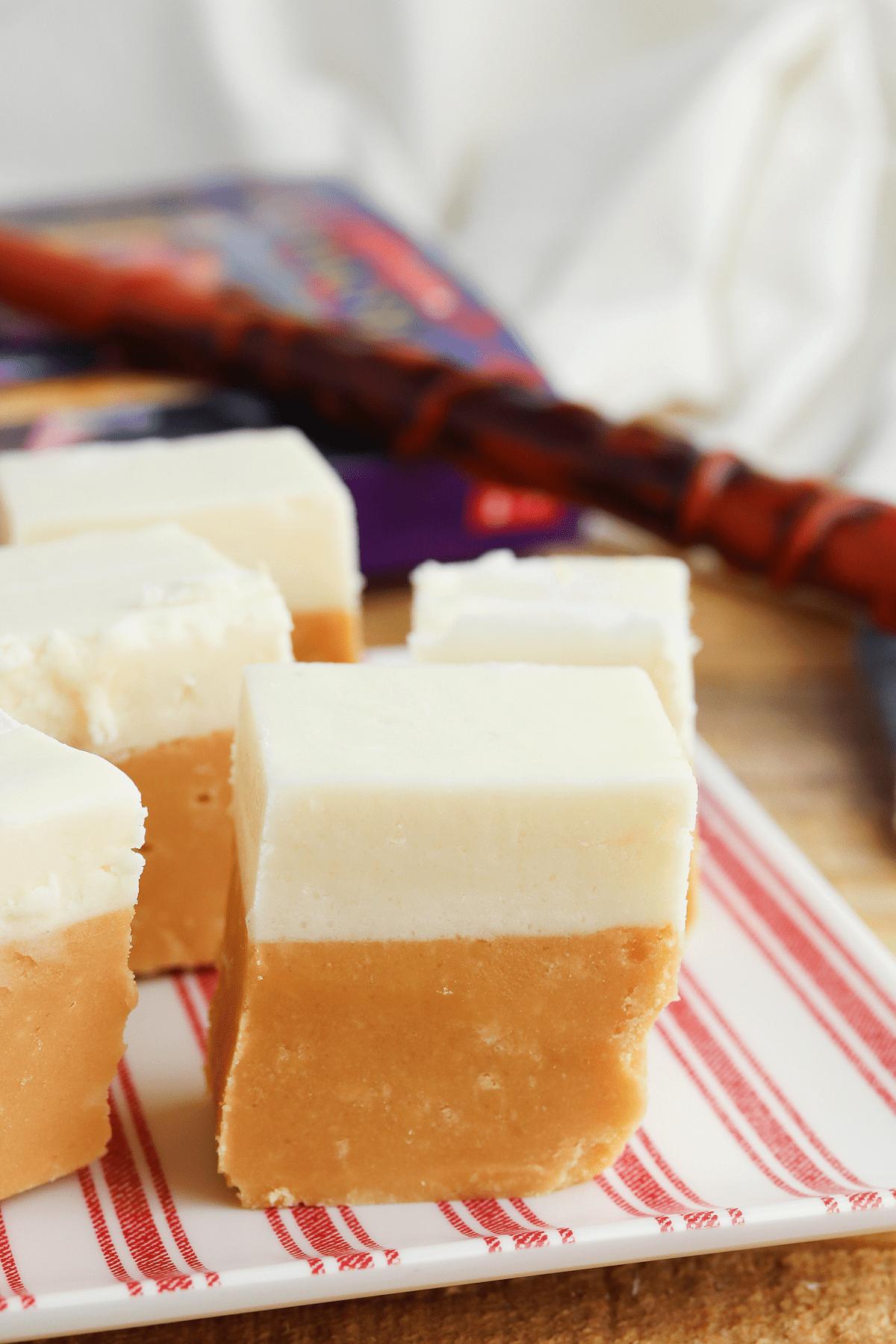 Butterbeer fudge on plate