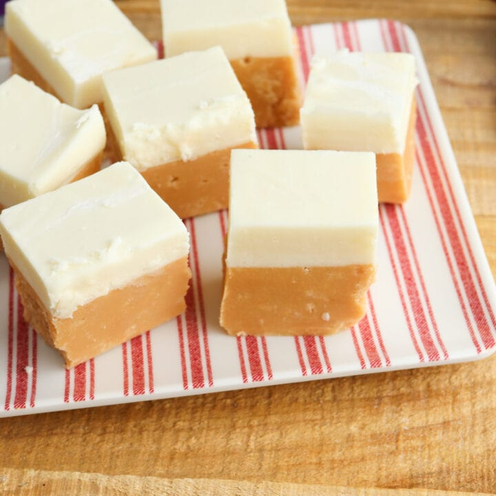 Butterbeer fudge on red striped plate