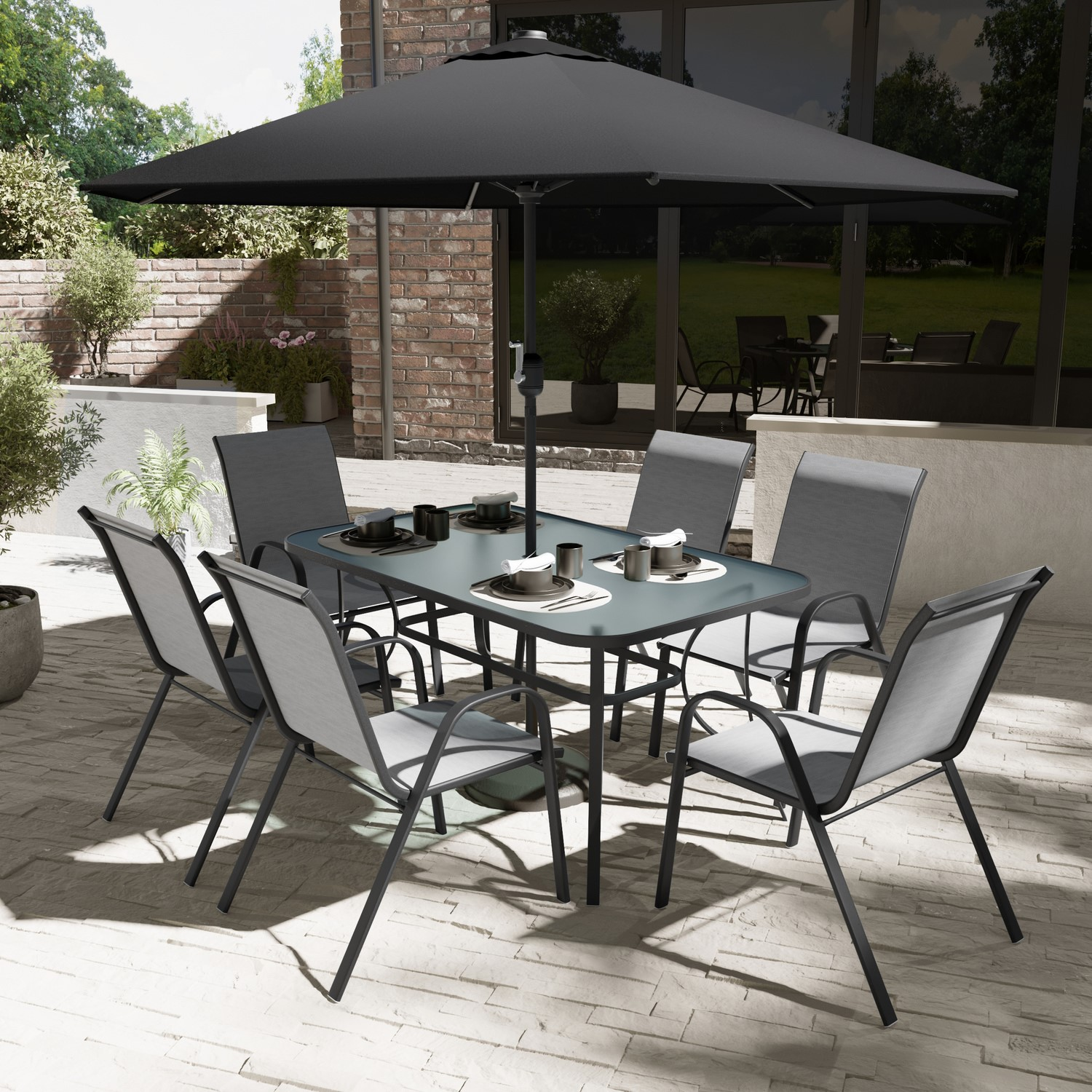 Black And Grey Metal 6 Seater Garden Furniture Set
