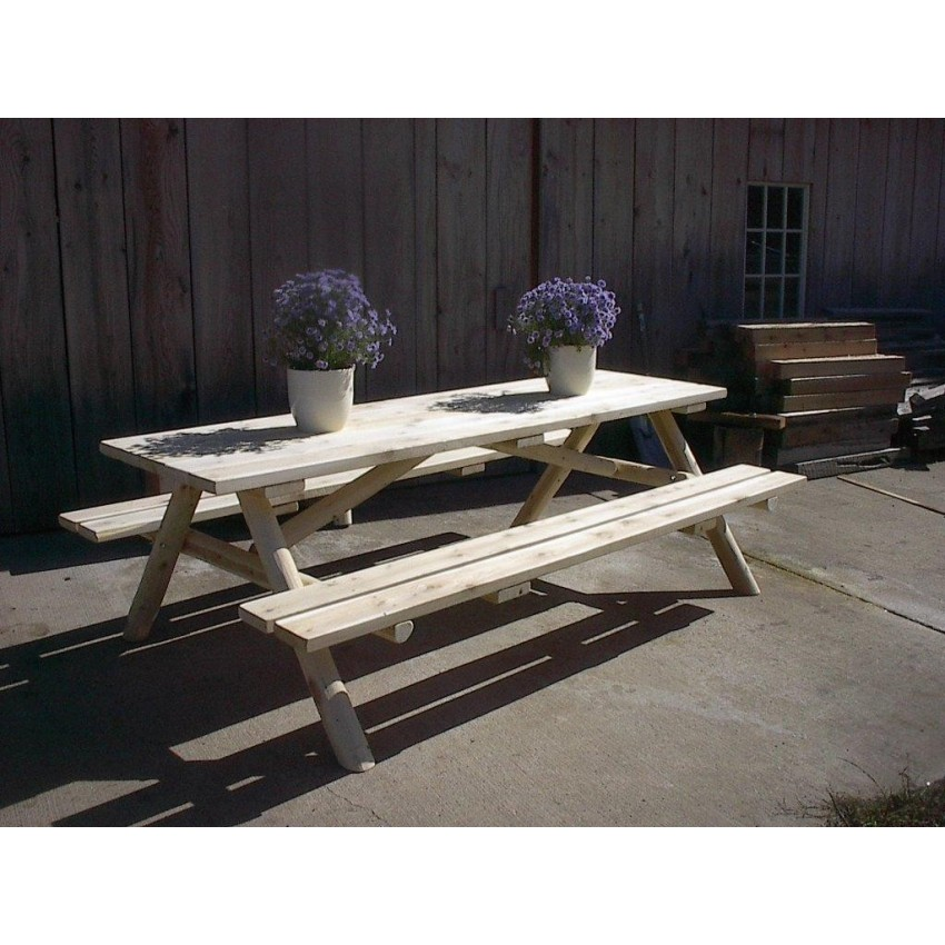Wood Working Picnic Table Plans With Attached Benches