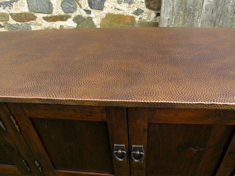 Hammered Copper Top Console Table With Storage Furniture