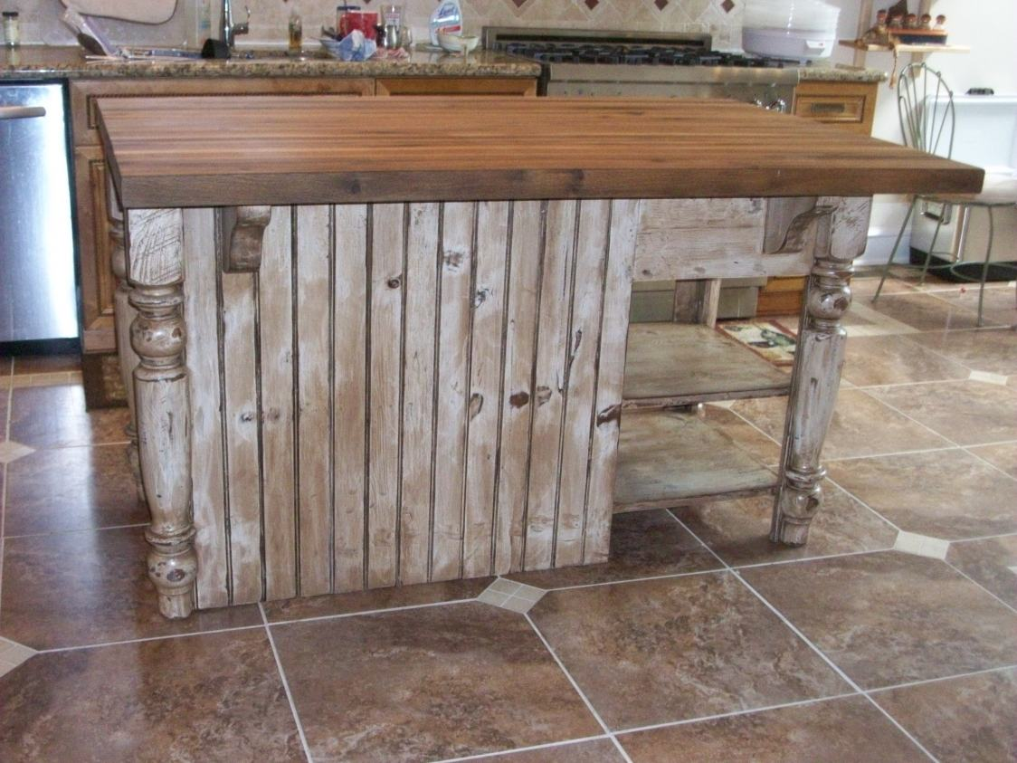 Distressed White Kitchen Island With Butcher Block