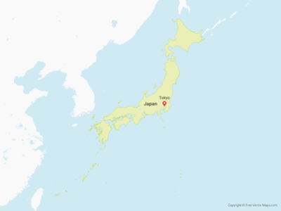 Vector Map of Japan   Free Vector Maps Free Vector Map of Japan