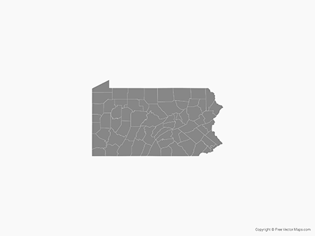Vector Map of Pennsylvania with Counties   Single Color   Free     Free Vector Map of Pennsylvania with Counties   Single Color