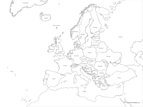 PowerPoint     Map of Europe with Countries   Outline   Free Vector Maps Free Vector Map of Europe with Countries   Outline