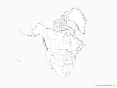 Vector Map of North America with US States and Canadian Provinces     Map of North America with US States and Canadian Provinces   Outline