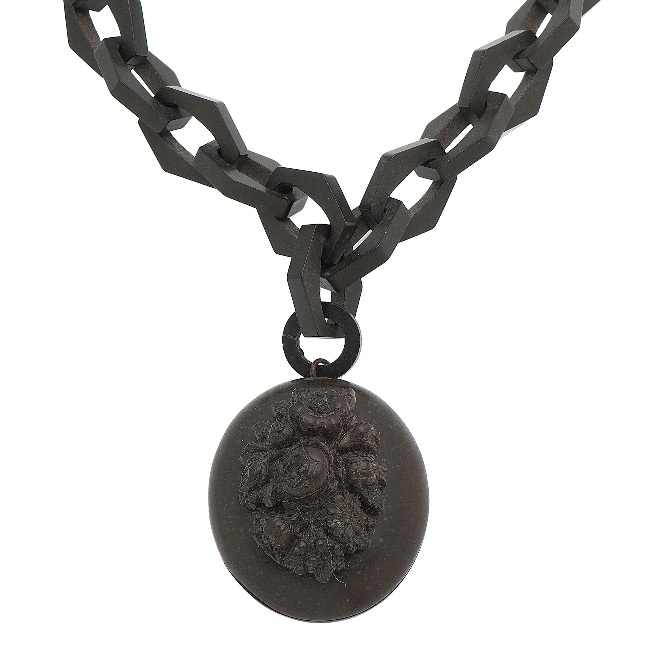 Victorian Gutta Percha Chain And Floral Carved Locket
