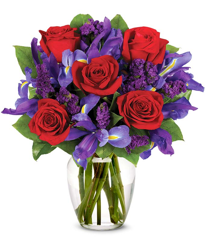 Love Flowers   Romantic Flowers   FromYouFlowers Red roses and blue irises