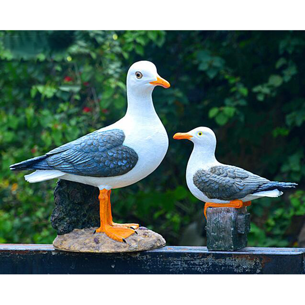 Resin Seagull Statue Garden Ornament Creative Nautical Themed Room Decor