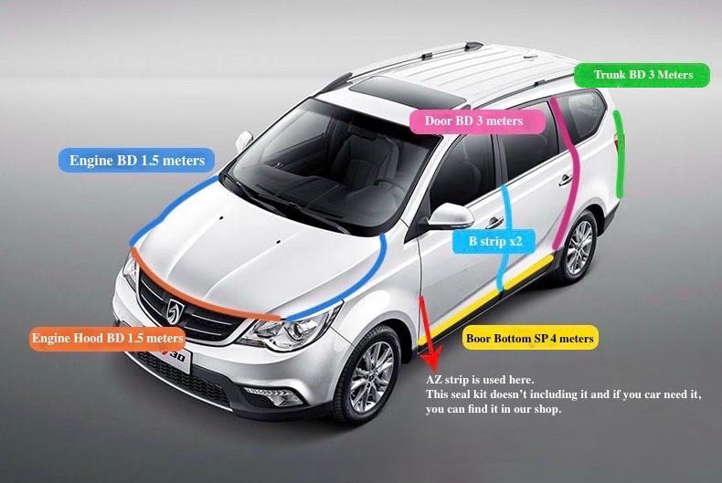 Vauxhall Junta Sello Puerta Umbral inferior de goma Burlete Recortar Clips
