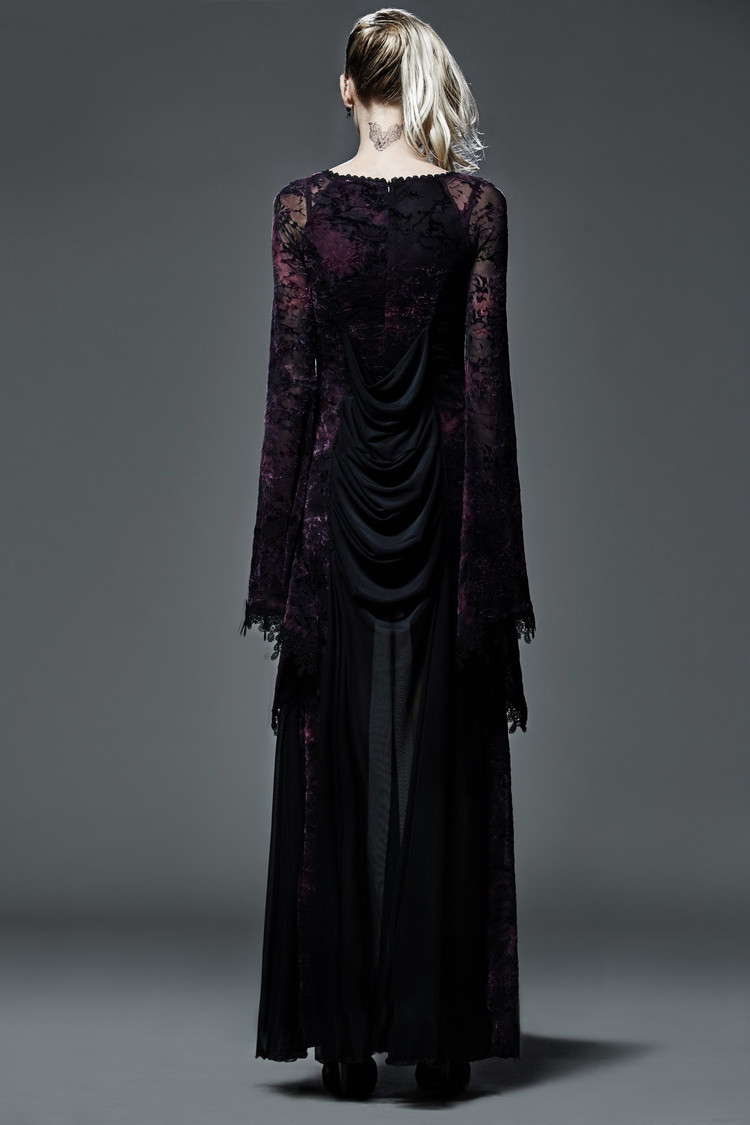 893184a191fb6 っPUNK RAVE Gotik tarzı akın koyu menekşe uzun cadı elbise Cadılar ...